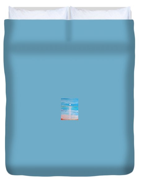 Duvet Cover featuring the painting Sunset At The Beach by Teresa Wegrzyn