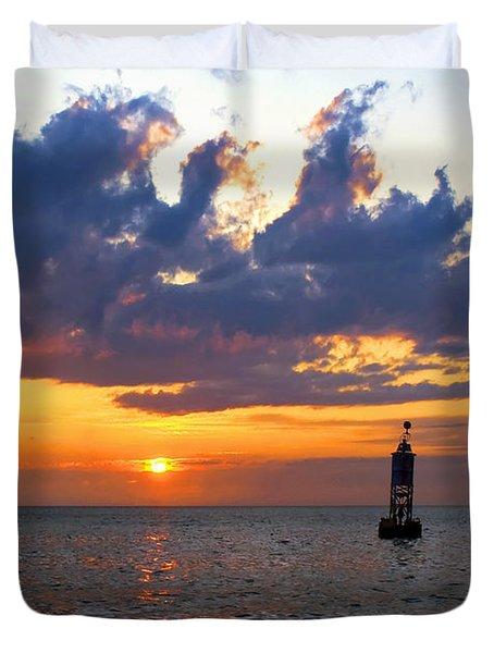 Sunset At The Bell Buoy Duvet Cover