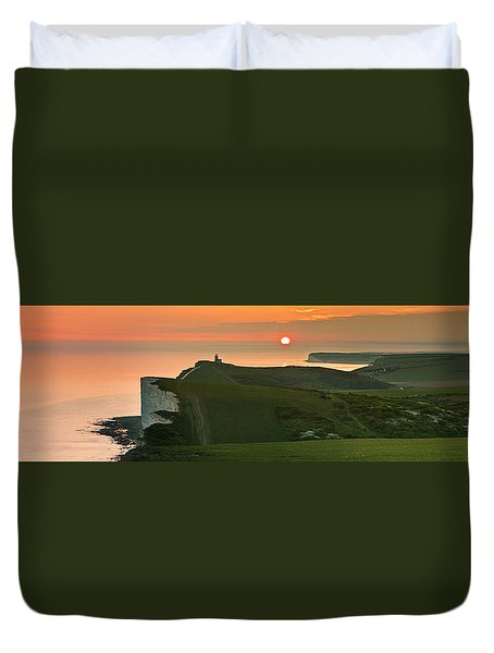 Sunset At The Belle Tout Lighthouse Duvet Cover