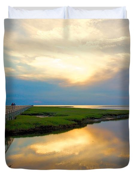 Sunset At The Boardwalk Duvet Cover