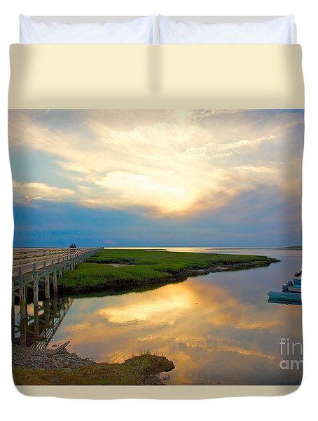 Sunset At The Boardwalk Duvet Cover by Amazing Jules
