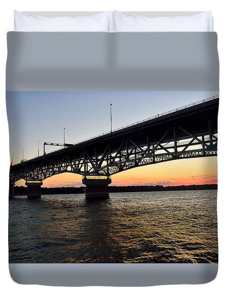 Sunset At The Coleman Bridge Duvet Cover