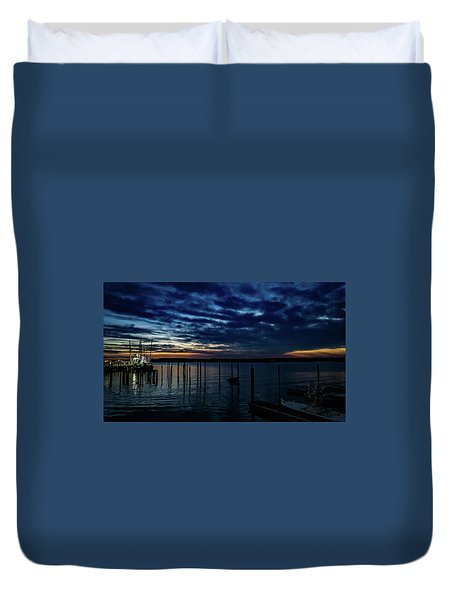 Sunset At The Dock Duvet Cover