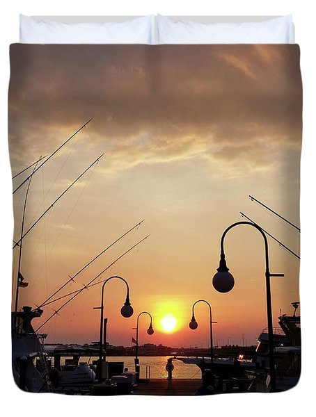 Sunset At The End Of The Talbot St Pier Duvet Cover