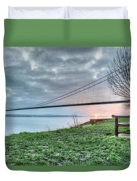 Sunset At The Humber Bridge Duvet Cover