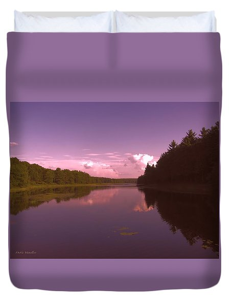 Duvet Cover featuring the photograph Sunset At The Lake by Debra     Vatalaro