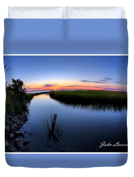 Sunset At The Landing Duvet Cover