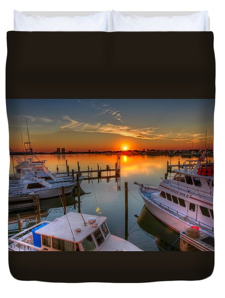 Sunset At The Marina Duvet Cover
