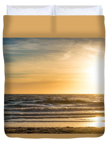 Duvet Cover featuring the photograph sunset at the North Sea by Hannes Cmarits