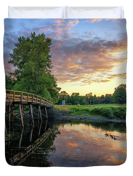Sunset At The Old North Bridge Duvet Cover
