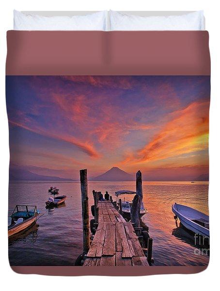 Sunset At The Panajachel Pier On Lake Atitlan, Guatemala Duvet Cover