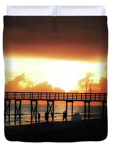 Sunset At The Pier Duvet Cover by Bill Cannon
