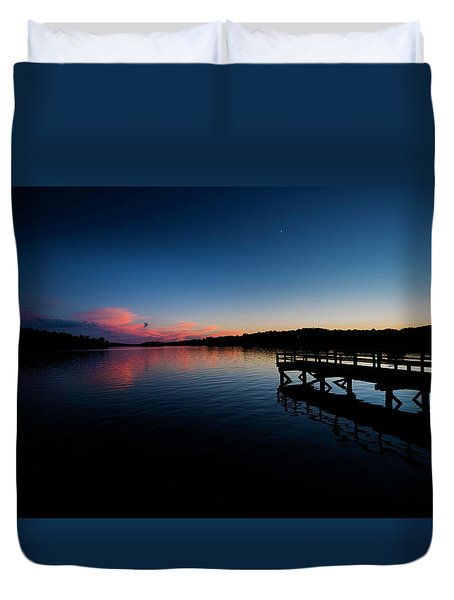 Sunset At The Pier Duvet Cover