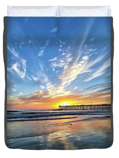 Sunset At The Pismo Beach Pier Duvet Cover by Vivian Krug Cotton