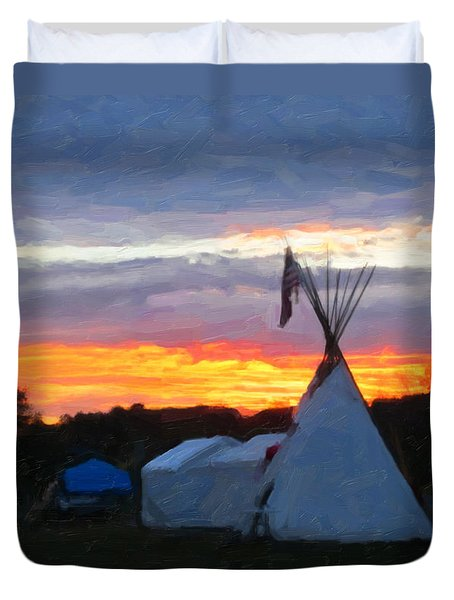 Sunset At The Powwow Duvet Cover