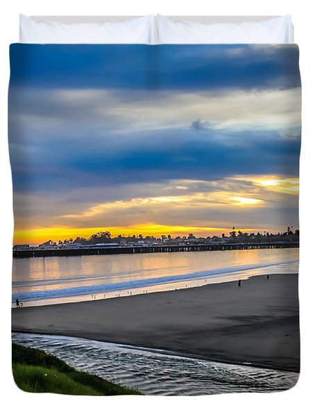 Sunset At The Rivermouth Duvet Cover