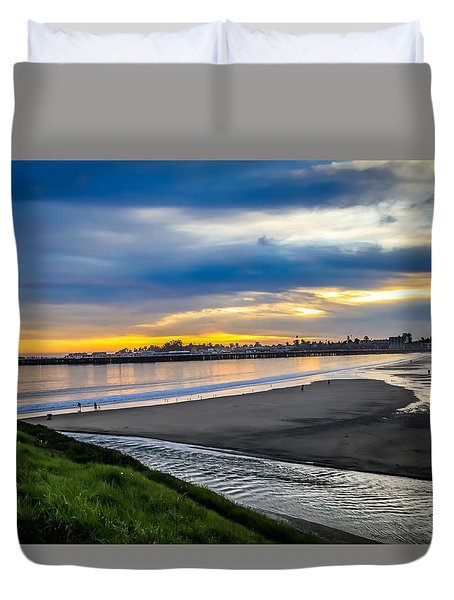 Duvet Cover featuring the photograph Sunset At The Rivermouth by Lora Lee Chapman