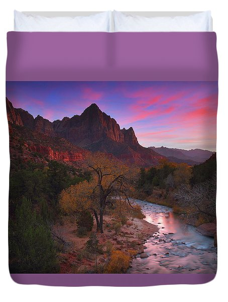 Sunset At The Watchman During Autumn At Zion National Park Duvet Cover