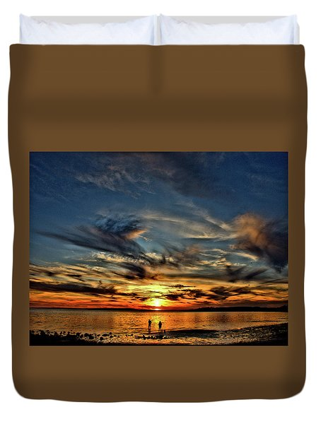 Sunset At The Waters Edge Duvet Cover
