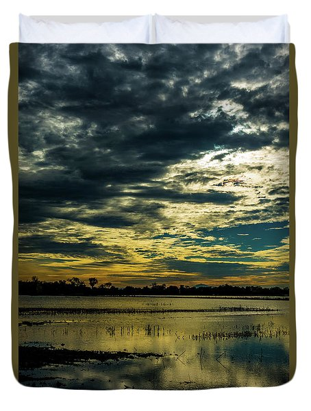 Sunset At The Wetlands Duvet Cover