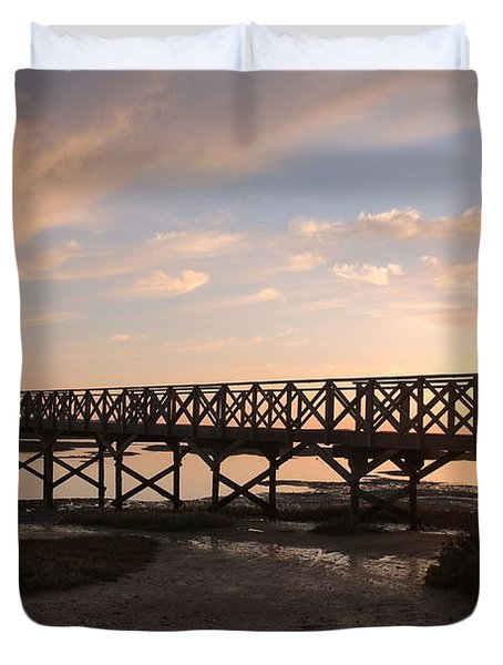 Sunset At The Wooden Bridge Duvet Cover