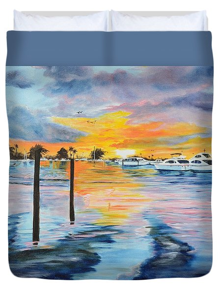Sunset At The Yacht Club Duvet Cover