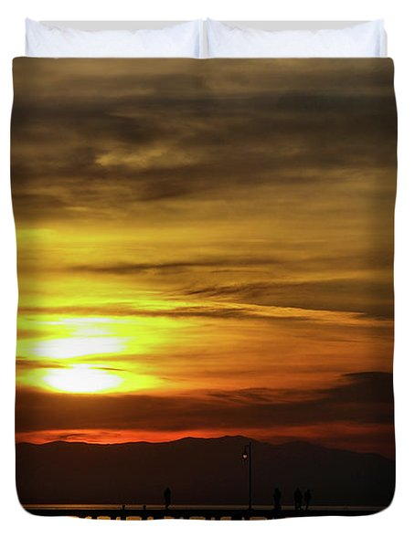 Sunset At Thessaloniki Duvet Cover
