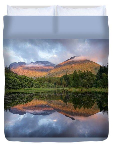 Sunset At Torren Lochan Duvet Cover
