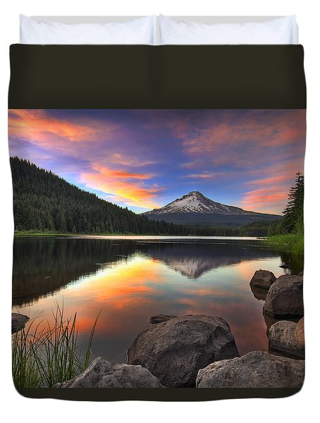 Sunset At Trillium Lake With Mount Hood Duvet Cover