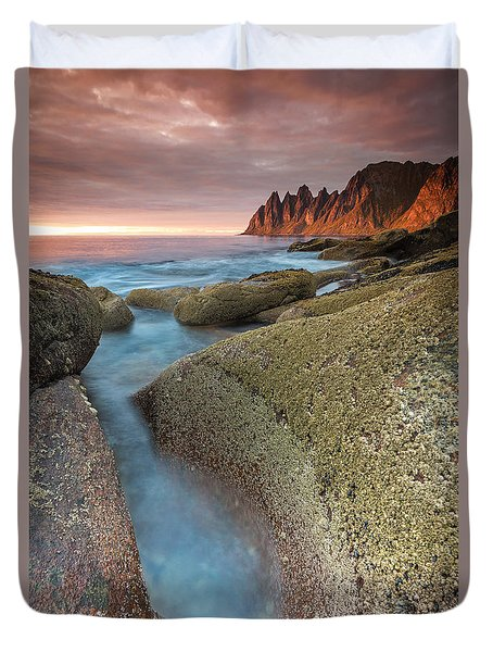 Sunset At Tungeneset Duvet Cover