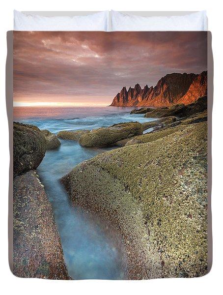 Sunset At Tungeneset Duvet Cover