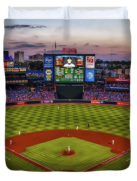 Sunset At Turner Field - Home Of The Atlanta Braves Duvet Cover by Joshua Peacock