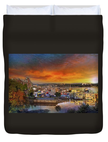 Sunset At Victoria Inner Harbor Fisherman's Wharf Duvet Cover by David Gn