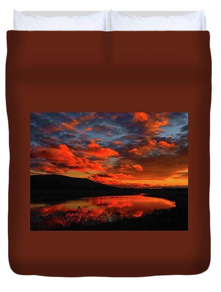 Sunset At Wallkill River National Wildlife Refuge Duvet Cover