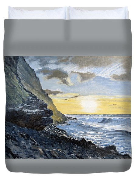 Duvet Cover featuring the painting Sunset At Warren Point Duckpool by Lawrence Dyer
