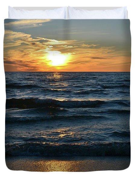 Sunset At Wasaga Beach June 21-2017  Duvet Cover