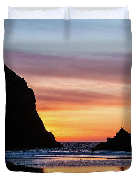 Sunset At Whalehead Beach Duvet Cover