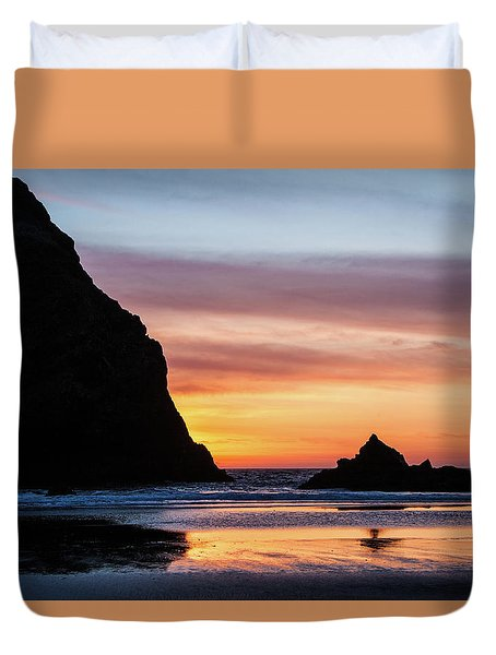 Duvet Cover featuring the photograph Sunset At Whalehead Beach by Jim Adams