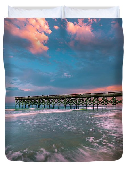 Sunset At Wilmington Crystal Pier In North Carolina Duvet Cover