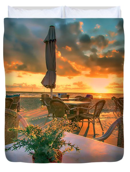 Sunset At Zandvoort Duvet Cover by Nadia Sanowar