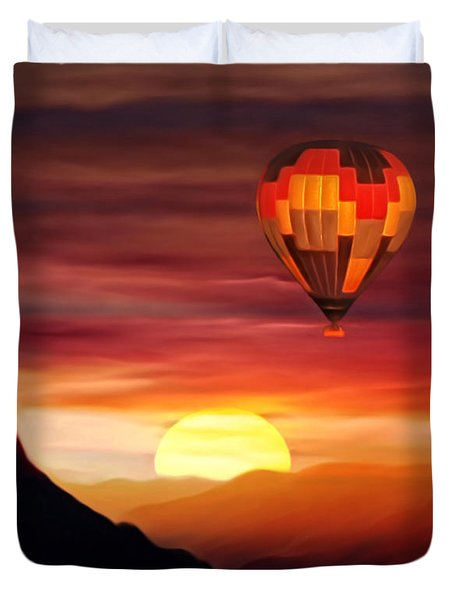 Sunset Balloon Ride Duvet Cover