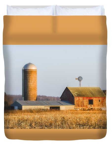 Duvet Cover featuring the photograph Sunset Barn by Dan Traun