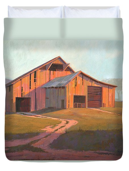 Duvet Cover featuring the painting Sunset Barn by Michael Humphries