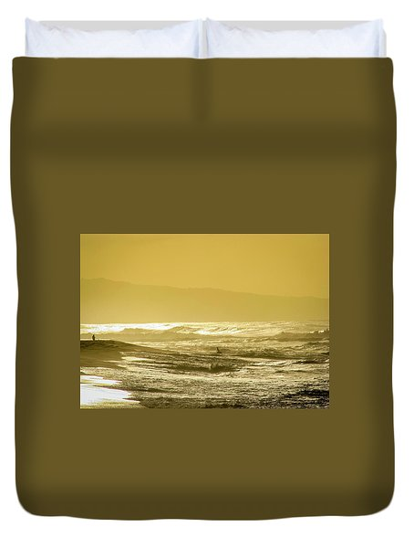 Sunset Beach Aglow  Duvet Cover