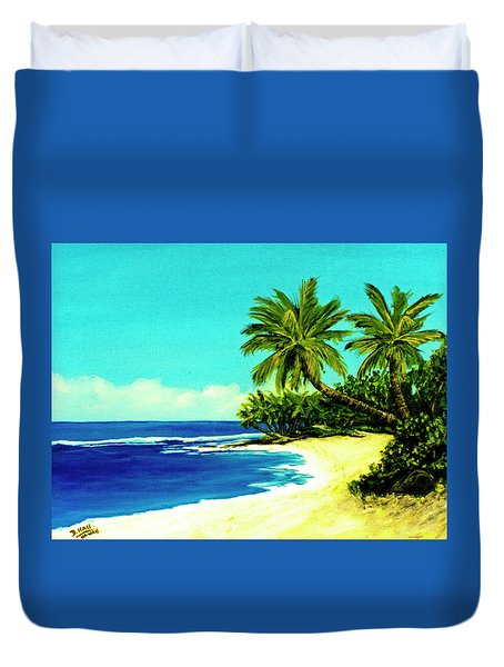 Sunset Beach Art North Shore Of Oahu In Summer #100 Duvet Cover by Donald k Hall