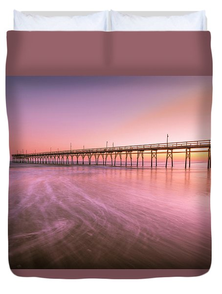 Duvet Cover featuring the photograph Sunset Beach Fishing Pier In The Carolinas At Sunset by Ranjay Mitra