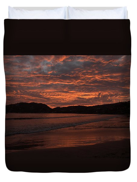 Duvet Cover featuring the photograph Sunset Beach by Jim Walls PhotoArtist