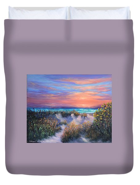 Sunset Beach Painting With Walking Path And Sand Dunesand Blue Waves Duvet Cover