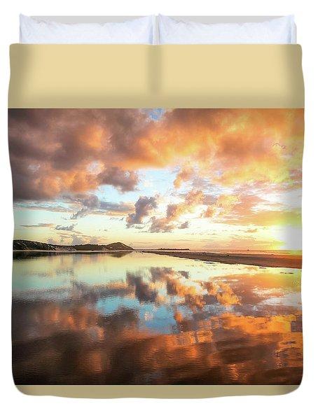 Sunset Beach Reflections Duvet Cover