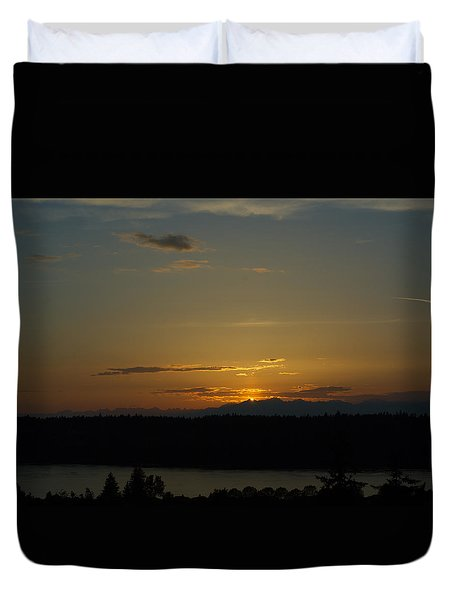 Sunset Behind Mountains Duvet Cover